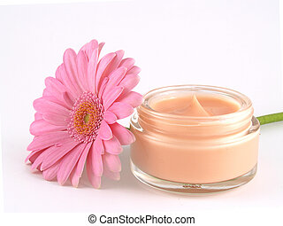face cream - moisturizing face cream with a pink flower...