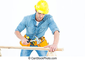 Carpenter using hammer on wood - Male carpenter using hammer...