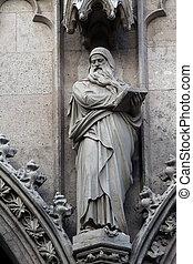 Statue of Saint, Votivkirche The Votive Church in Vienna -...