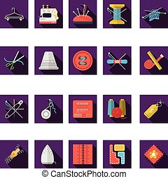 Flat color icons vector collection of sewing - Set of square...