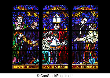 Stained glass in Votiv Kirche The Votive Church in Vienna -...
