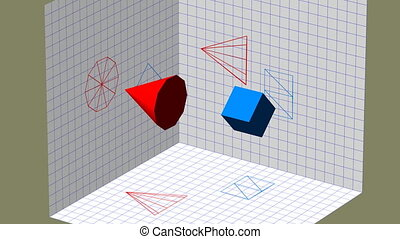 Descriptive geometry 3D projection