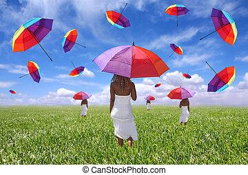站立, 領域, 婦女, 傘, 藏品