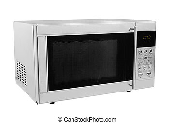 microwave oven - closed microwave made of shiny metal...