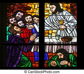 Last supper, Stained glass in Votiv Kirche The Votive Church...