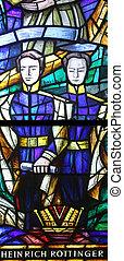 Stained glass in Votiv Kirche The Votive Church in Vienna -...