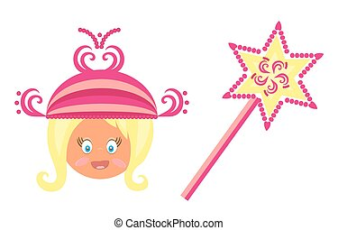 The blond head of little girl with a pink princess crown and magic wand