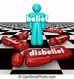 Belief Vs Disbelief One Confident Person with Faith Stands...
