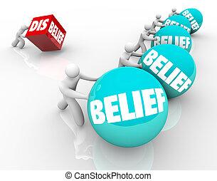 creencia, contra, incredulidad, Doubter, Pierde, a, gente,...