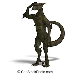 Member of the fantasy dragon folk - 3D rendering of a Member...