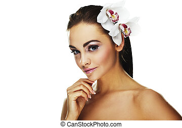 woman with bright white flowers - Sexy young woman with...