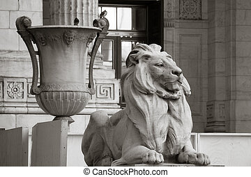 Stone Lion and Grecian Urn - The entrance to the New York...