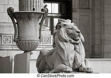 pedra, Leão, Grecian, urna