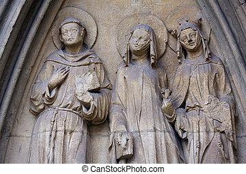 Statue of Saints, facade of Minoriten kirche in Vienna,...