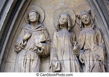 Statue of Saints, facade of Minoriten kirche in Vienna,...