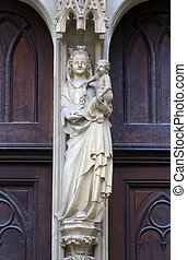 Virgin Mary statue from west portal of Minoriten gothic...
