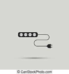 alambre, enchufe, y, eléctrico, enchufe, vector,...