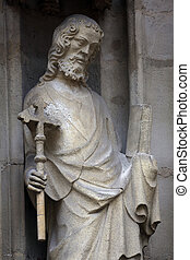 Statue of Saint, facade of Minoriten kirche in Vienna,...