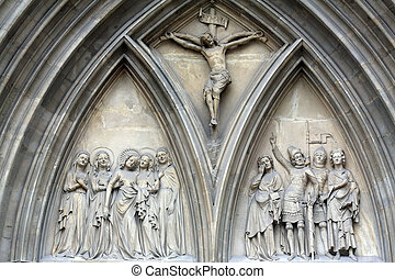 Portal of Minoriten kirche in Vienna, Austria on October 11,...