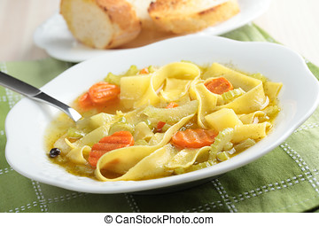 Minestrone with pasta and crostini