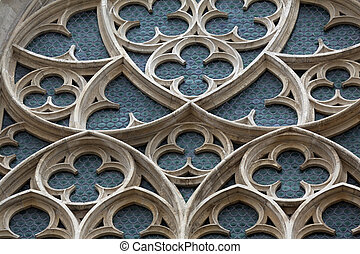 Rose window of Minoriten kirche in Vienna, Austria on...