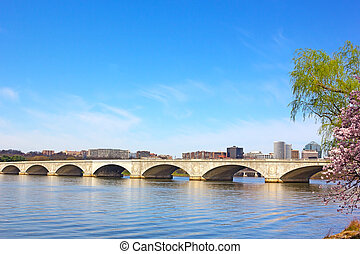 Arlington memorial Bridge during cherry blossom in...