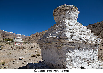 White Pagodas with Blue Sky, , in Leh - Ladakh, North of...