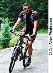 joven, hombre, unidad, Montaña, bicicleta