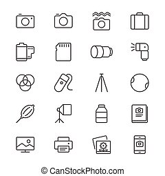 Photography thin icons