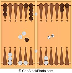 Backgammon on the wooden box, two dice and chips for the...