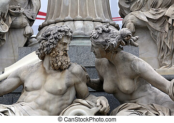 Detail of Pallas-Athene fountain in front of Austrian...