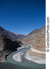 Confluence of Zanskar and Indus rivers - Leh, Ladakh, India