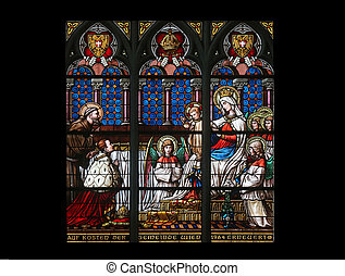 Virgin Mary with baby Jesus, angels and Saints, Stained...