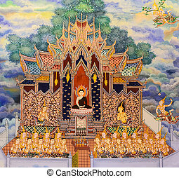 Thai mural painting of the Life of Buddha