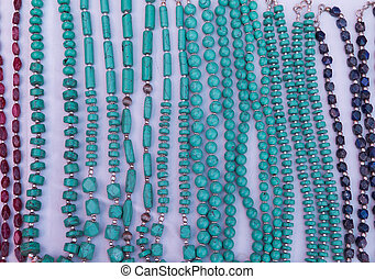 Various of different colorful necklace at market in leh,...