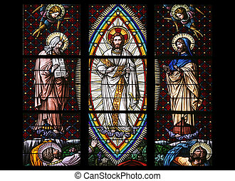 Transfiguration on Mount Tabor, Stained glass in Votiv...