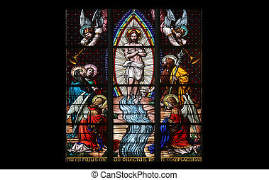 Baptism of the Christ, Stained glass in Votiv Kirche The...