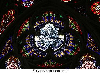 Saint Matthew the Evangelist, Stained glass in Votiv Kirche...