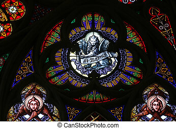 Saint Mark the Evangelist, Stained glass in Votiv Kirche...