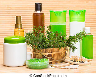 Natural hair care cosmetics and accessories: wooden basket...