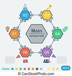 Infographics in chemical style, 2d illustration, vector, eps...