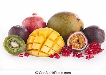 fresco, frutas,