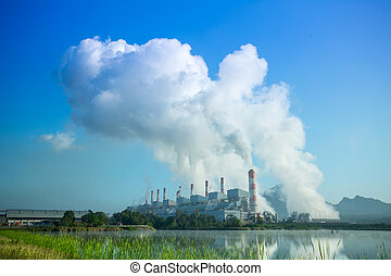 Coal fired power plant with blue sky