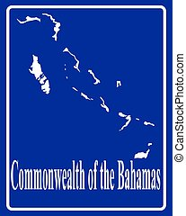 silhouette map of Commonwealth of the Bahamas - sign as a...
