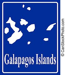 silhouette map of Galapagos Islands - sign as a white...