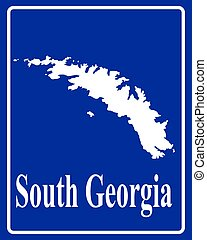 silhouette map of South Georgia - sign as a white silhouette...