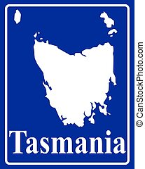silhouette map of Tasmania - sign as a white silhouette map...