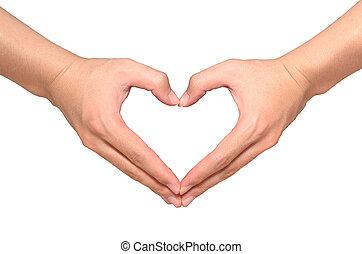 corazón, hecho, aislado, forma, asiático, Manos, blanco, macho