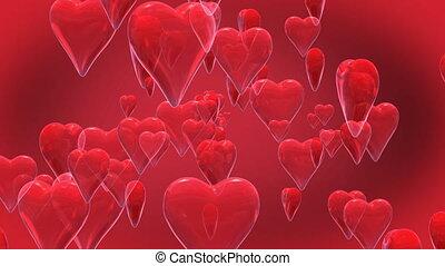 Shiny hearts - 3D Animated shiny hearts on red background