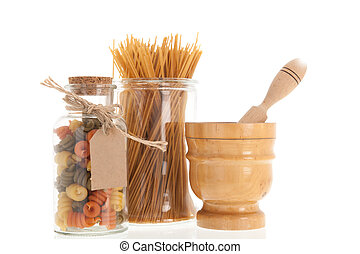 Italian pasta - Glass pot full with tri-colore Italian pasta